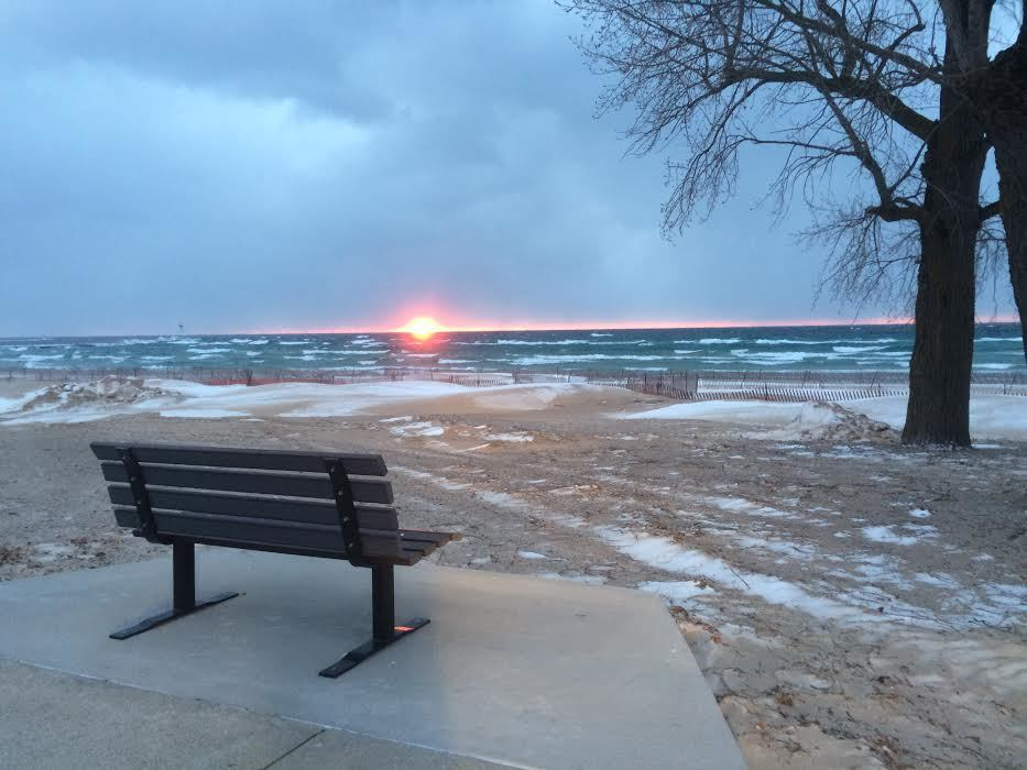 A quiet Lake Michigan Sunset in January